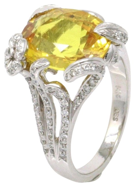 Item - White Gold 14k Canary Yellow Sapphire (8.28 Ct) Size 6.5 Ring