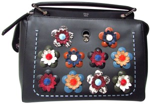 Fendi Leather Applique Floral Classic Designer Satchel in Black