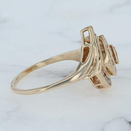 N/A 1ctw Diamond Cluster Cocktail Ring - 14k Size 11.75 Bypass Image 1