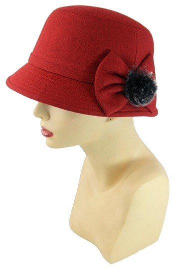 Preload https://img-static.tradesy.com/item/24343311/fashionista-burgundy-rabbit-fur-ribbon-accent-wool-felt-hat-0-1-540-540.jpg