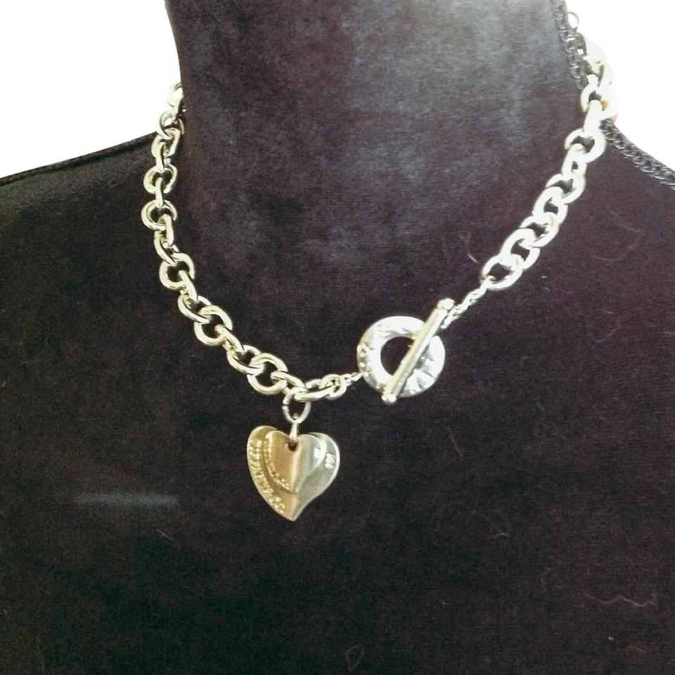 03f53f6d0 Tiffany & Co. Sterling Silver Double Heart Chain Toggle Necklace ...