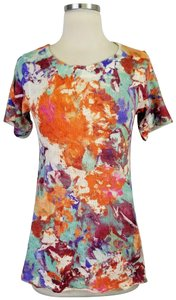 Soft Surroundings Floral Sleeve T Shirt Orange