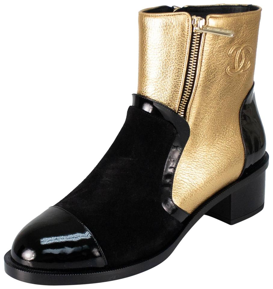 2f6404828cb31 Chanel Gold Black/Gold Leather Suede and Patent Leather Boots ...