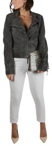 René Lezard Animal Print Casual Motorcycle Grey Leather Jacket