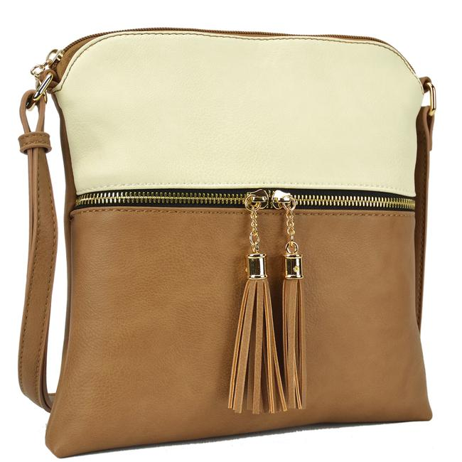 Crossbody/ Messenger with Tassel Beige/Stone Faux Leather Cross Body Bag Crossbody/ Messenger with Tassel Beige/Stone Faux Leather Cross Body Bag Image 1