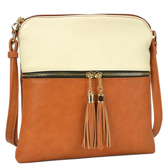 Preload https://img-static.tradesy.com/item/24343600/crossbody-messenger-with-tassel-beigetan-faux-leather-cross-body-bag-0-0-540-540.jpg