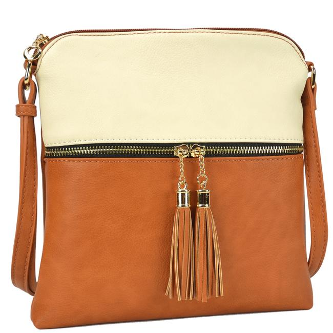 Crossbody/ Messenger with Tassel Beige/Tan Faux Leather Cross Body Bag Crossbody/ Messenger with Tassel Beige/Tan Faux Leather Cross Body Bag Image 1