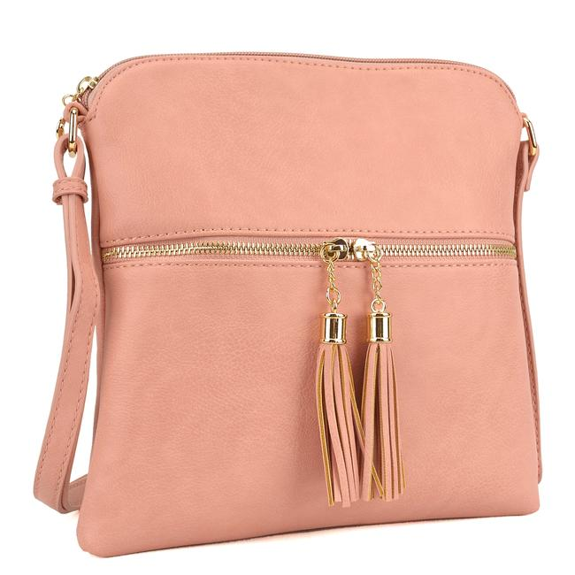 Crossbody/ Messenger with Tassel Pink Faux Leather Cross Body Bag Crossbody/ Messenger with Tassel Pink Faux Leather Cross Body Bag Image 1