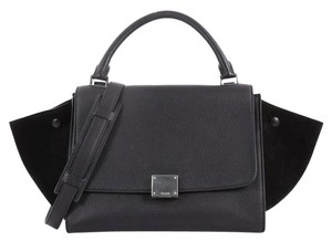 Céline Leather Suede Tote in black