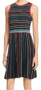 Parker Fit And Flare Party Striped Sleeveless Zipper Dress