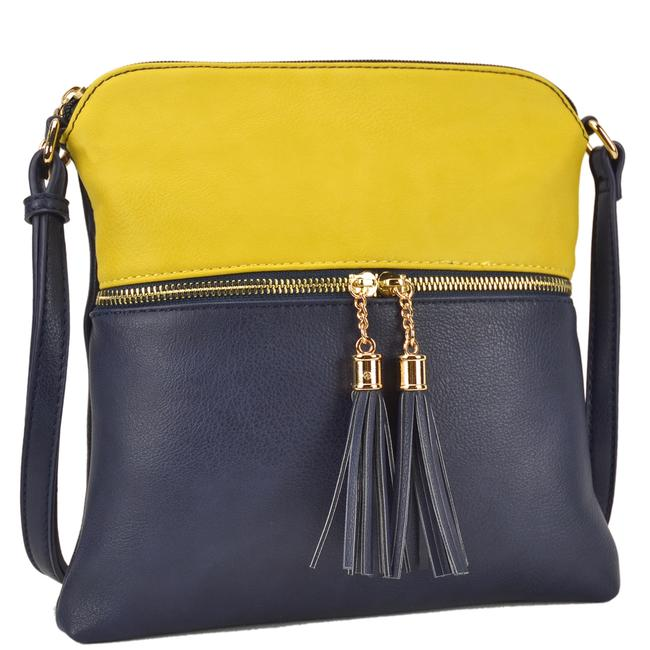 Crossbody/ Messenger with Tassel Yellow/Deep Sea Faux Leather Cross Body Bag Crossbody/ Messenger with Tassel Yellow/Deep Sea Faux Leather Cross Body Bag Image 1
