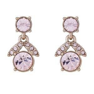 Givenchy Gold Tone Pink Stone Flower Drop Earrings