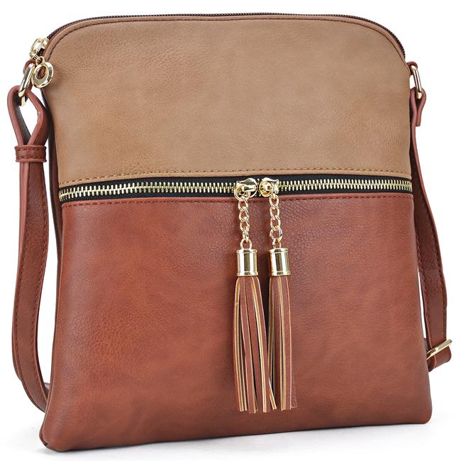 Crossbody/ Messenger with Tassel Stone/Coffee Faux Leather Cross Body Bag Crossbody/ Messenger with Tassel Stone/Coffee Faux Leather Cross Body Bag Image 1