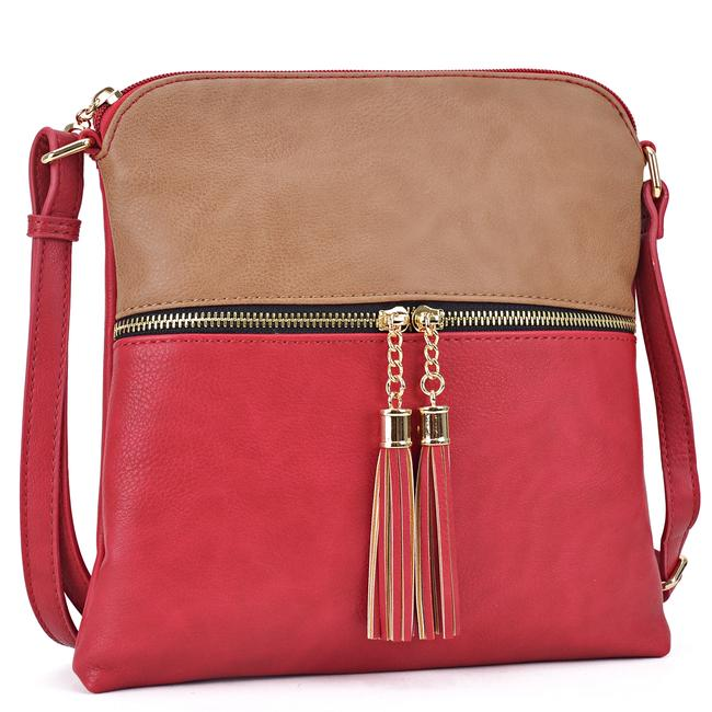 Crossbody/ Messenger with Tassel Stone/Red Faux Leather Cross Body Bag Crossbody/ Messenger with Tassel Stone/Red Faux Leather Cross Body Bag Image 1