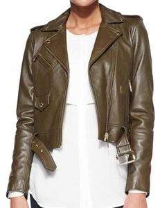 MICHAEL Michael Kors Bomber Cropped Olive Green Leather Jacket