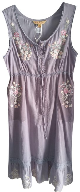 Item - Light Grey with Embrodery The Mariah Mid-length Casual Maxi Dress Size 6 (S)