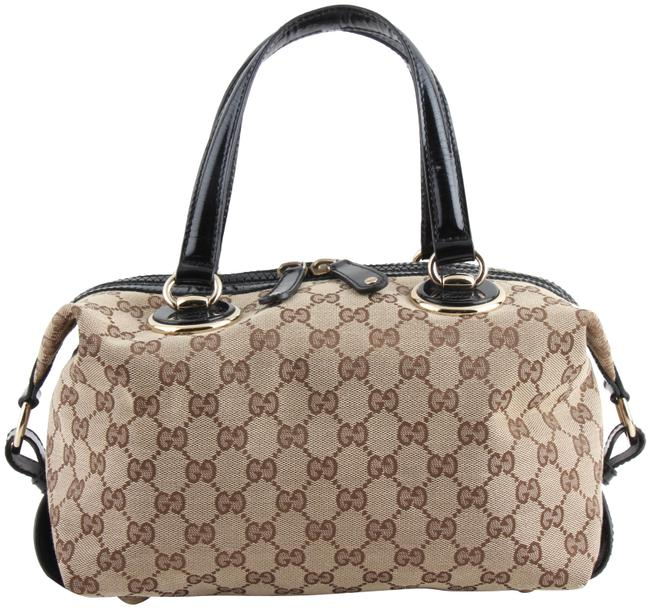 Gucci Patent Leather Brown Canvas Satchel Gucci Patent Leather Brown Canvas Satchel Image 1