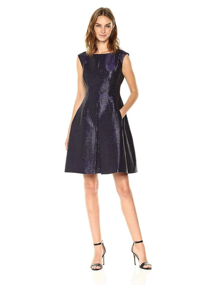 3f8f717f51 Anne Klein African Violet Combo Inverted Pleated Skirt Fit  flare-tile  Jacquard Cocktail Dress