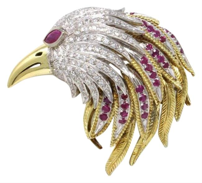 Item - Multicolor Ruby and Diamond Eagle Brooch (3.29 Ct) 14k Gold