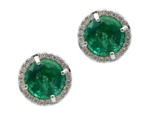 Sea Wave Diamonds Round Green Emerald with Diamond Pave Halo Stud Earrings