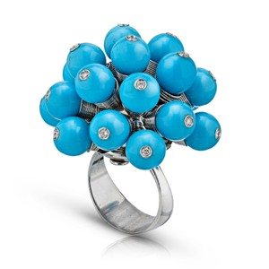 Gavriel's Jewelry Turquoise Fun Pom Pom Diamond Cluster Ring 18K White Gold