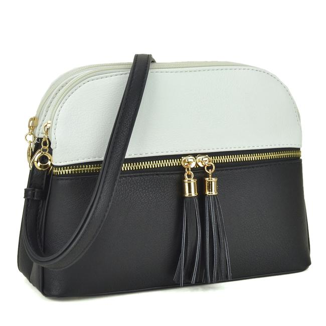 Crossbody/ Messenger with Tassel White/Black Faux Leather Cross Body Bag Crossbody/ Messenger with Tassel White/Black Faux Leather Cross Body Bag Image 1