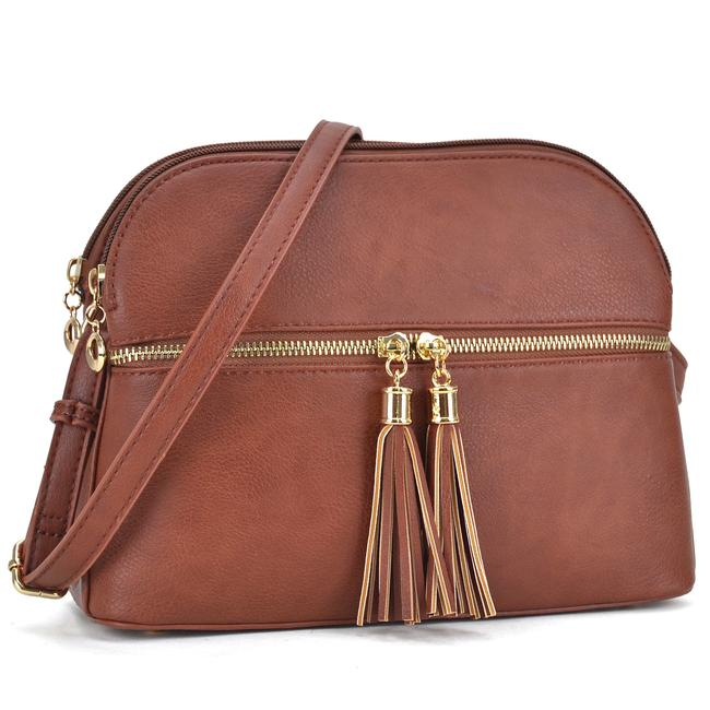 Crossbody/ Messenger with Tassel Coffee Faux Leather Cross Body Bag Crossbody/ Messenger with Tassel Coffee Faux Leather Cross Body Bag Image 1