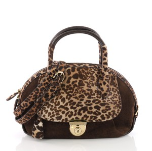 Salvatore Ferragamo Calf Hair Satchel in brown