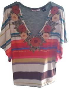 Desigual Width T Shirt Multi Colors/striped/embroidered