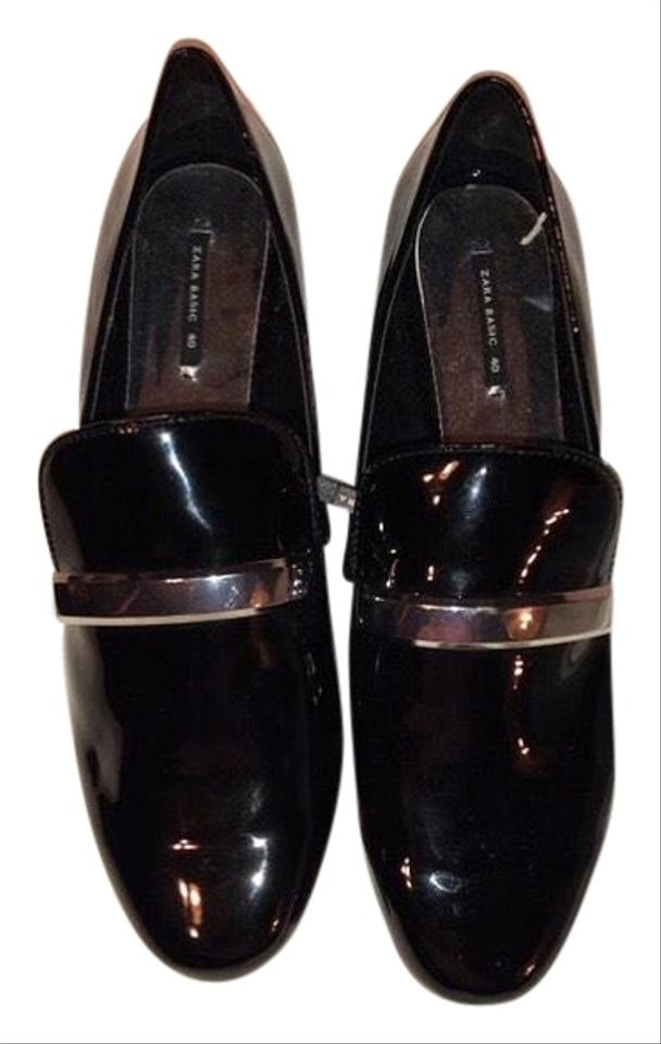 404931a99fc Zara Black Patent Loafer with Silver Detail Flats Size EU 40 (Approx ...