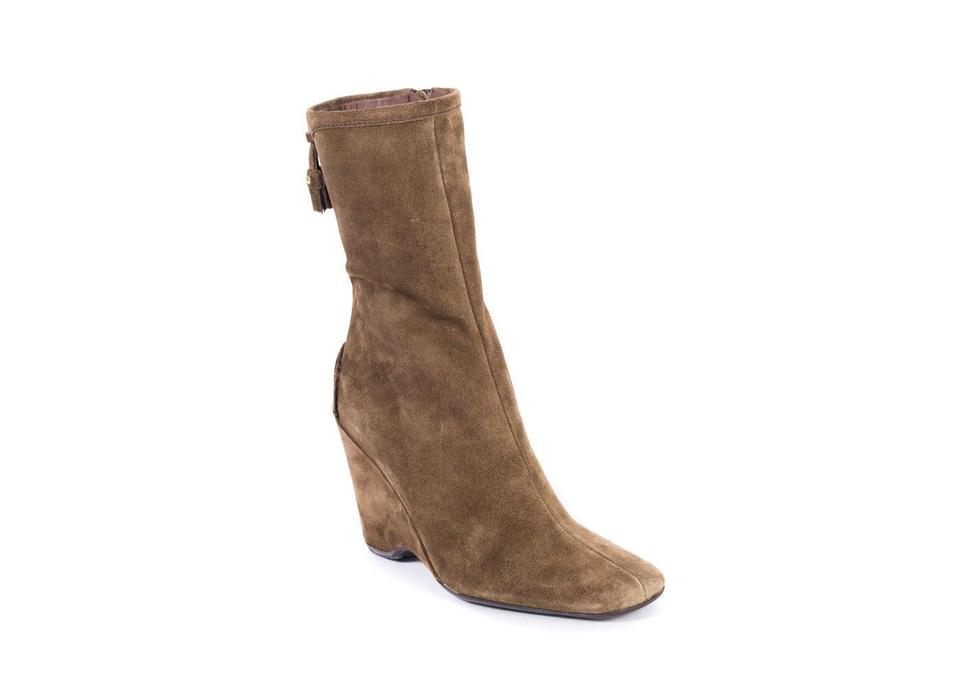 905251ba The Original Car Shoe Brown By Prada Women's Suede Wedges Square C774  Boots/Booties Size US 7 Regular (M, B) 86% off retail