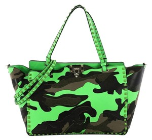 Valentino Leather Tote in green camo