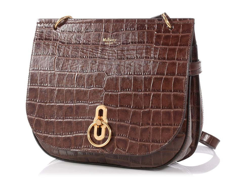 Mulberry Small Croc Stamped Amberley Brown Leather Messenger Bag - Tradesy cce5ca21b5