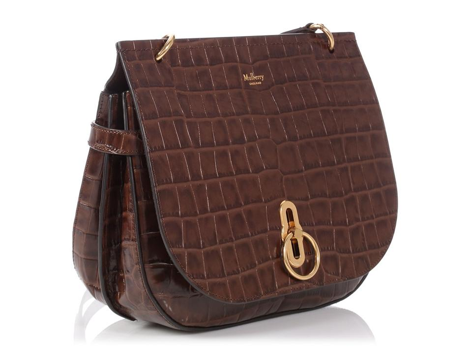 84333a9b3aa3 Mulberry Small Croc Stamped Amberley Brown Leather Messenger Bag ...