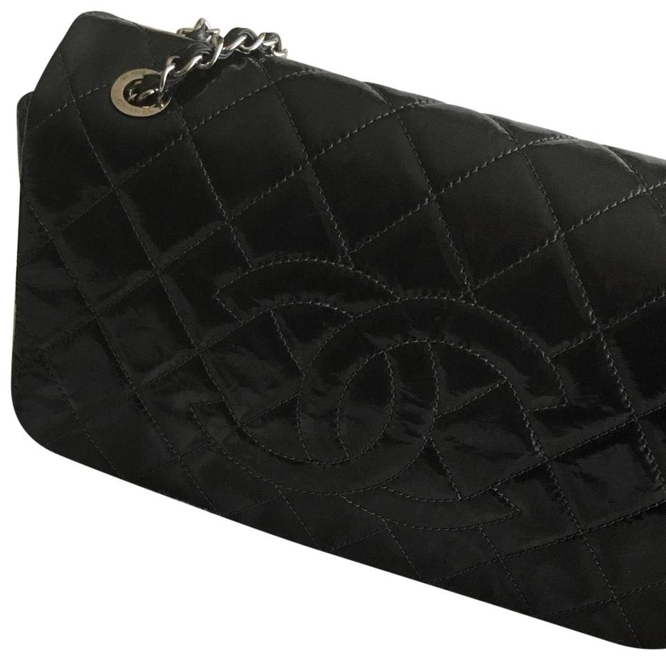 4c5a165b153c Chanel Classic Flap Quilted Jumbo Black Patent Leather Shoulder Bag ...