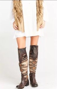 FREEBIRD by Steven Caballero Aztec Leather Distressed Over The Knee Brown multi Boots