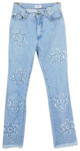 Moschino Frayed Floral Light Wash Denim Boot Cut Jeans-Light Wash