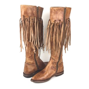 Bed|Stü Fringe Almond Toe Leather Distressed Bohemian Tan Boots