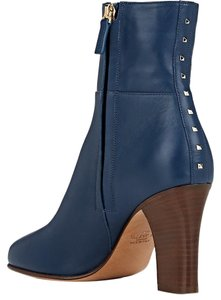Valentino Made In Italy Luxury Designer Ankle Signature Stud Sculpted Heel Dark Blue Boots
