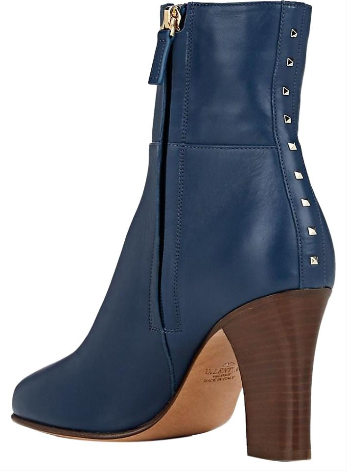 Valentino Dark Blue Garavani Lovestud Leather Sculpted Heel Ankle BootsBooties Size EU 39 (Approx. US 9) Regular (M, B) 53% off retail