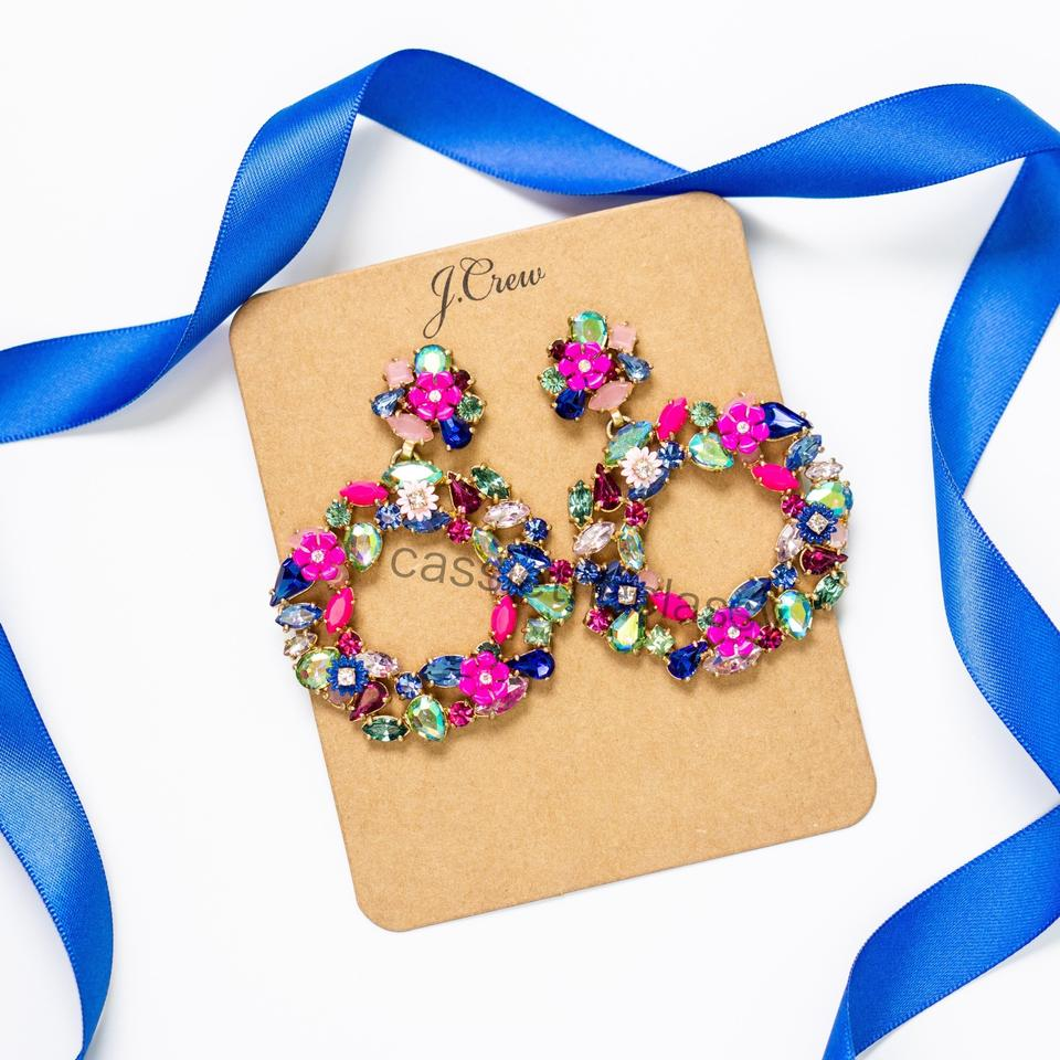 f853b6f4cb0cb J.Crew Blue Pink Gold Colorful Floral Hoop Fuchsia Earrings - Tradesy