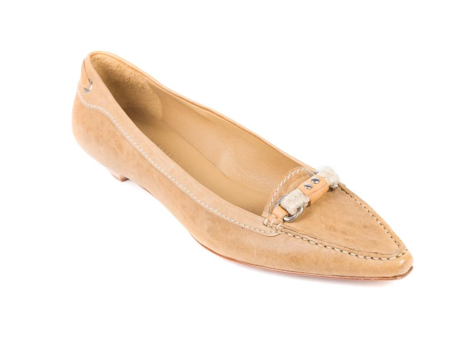b708b9105 The Original Car Shoe Tan By Prada Women's Leather Braided Pointed Toe  Loafers C782 Flats