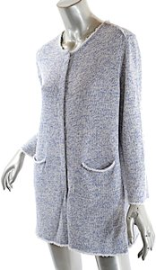 Amina Rubinacci Denim Tweed Cotton Blend Cardigan