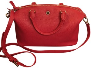 Tory Burch Leather Slouchy Satchel in Liberty Red