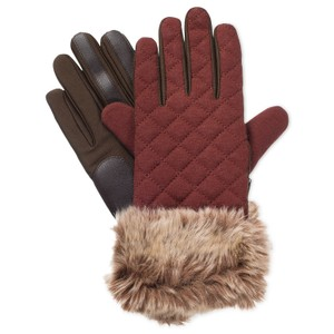 Isotoner Stretch Quilted Faux Fur smarTouch Tech Gloves L XL