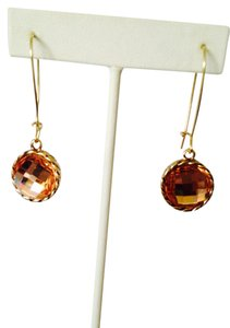 Jennifer Lopez Faceted Amber Stone In Gold-Tone Dangle Earrings