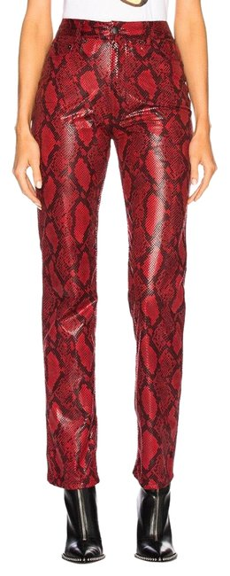 Item - Red Faux Python Snakeskin Trousers Pants Size 4 (S, 27)