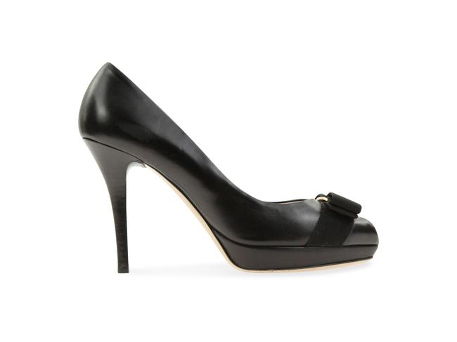 Item - Black Bow Peep Toe Platforms Size US 6.5 Wide (C, D)