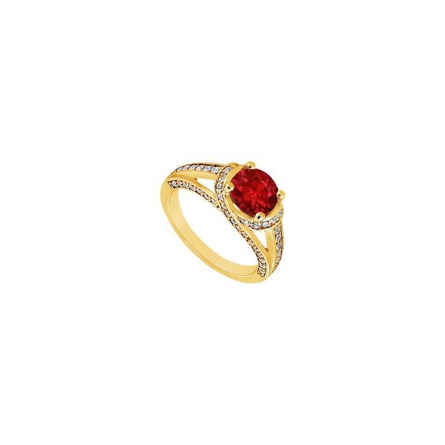 Red Created Ruby and Cubic Zirconia Engagement 14k Yellow Gold 1.00 C Ring Red Created Ruby and Cubic Zirconia Engagement 14k Yellow Gold 1.00 C Ring Image 1
