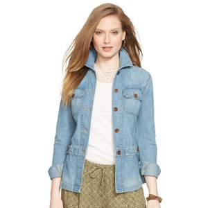 Lauren Jeans Company Lrl Peplum Button Closure Womens Jean Jacket